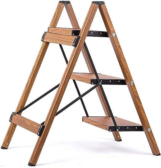 Escalera ultraligera de 3 peldaños, plegable ligera de aluminio de grano de madera con pedal antideslizante y ancho para taburete de peldaño de ahorro de espacio para el hogar y la cocina: