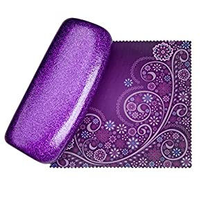 Mystic Purpl Medium Premium Fashion Women's Hard Eyeglasses Case | Smooth Glitter | Bonus Cleaning Cloth