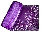 Mystic Purpl Medium Premium Fashion Women's Hard Eyeglasses Case | Smooth Glitter | Bonus Cleaning Cloth