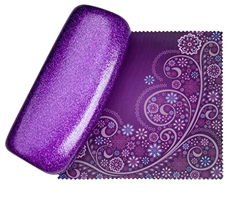 Mystic Purple Medium Premium Fashion Women's Hard Eyeglasses Case By Spunky Soul | Glitter Purple | Bonus Cleaning Cloth