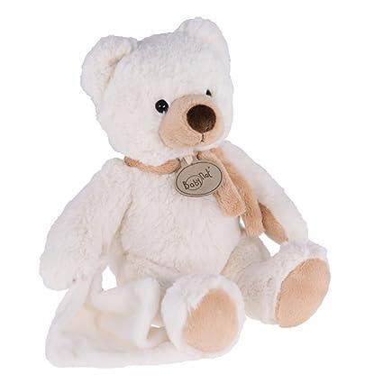 Babynat – Peluches y peluches – oso de peluche/oso y sonido pañuelo blanco –