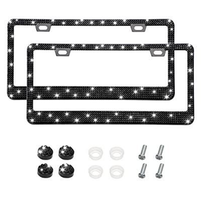 Otostar Bling Bling Car License Plate Frame, Handmade 8 Facets Rhinestones Stainless Steel License Plate Holder Cover with Screws Caps - 2 Pack (Black 6 Rows 2 Holes): Automotive