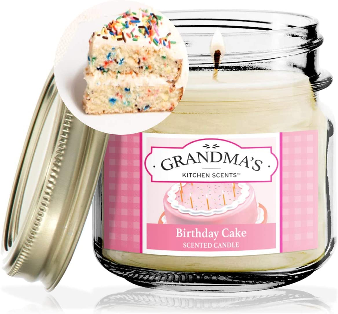 Birthday Cake Scented Candles for Home | Non Toxic Long Lasting Soy Candles | Delicious Scent | 8 oz Mason Jar | Hand Made in The USA