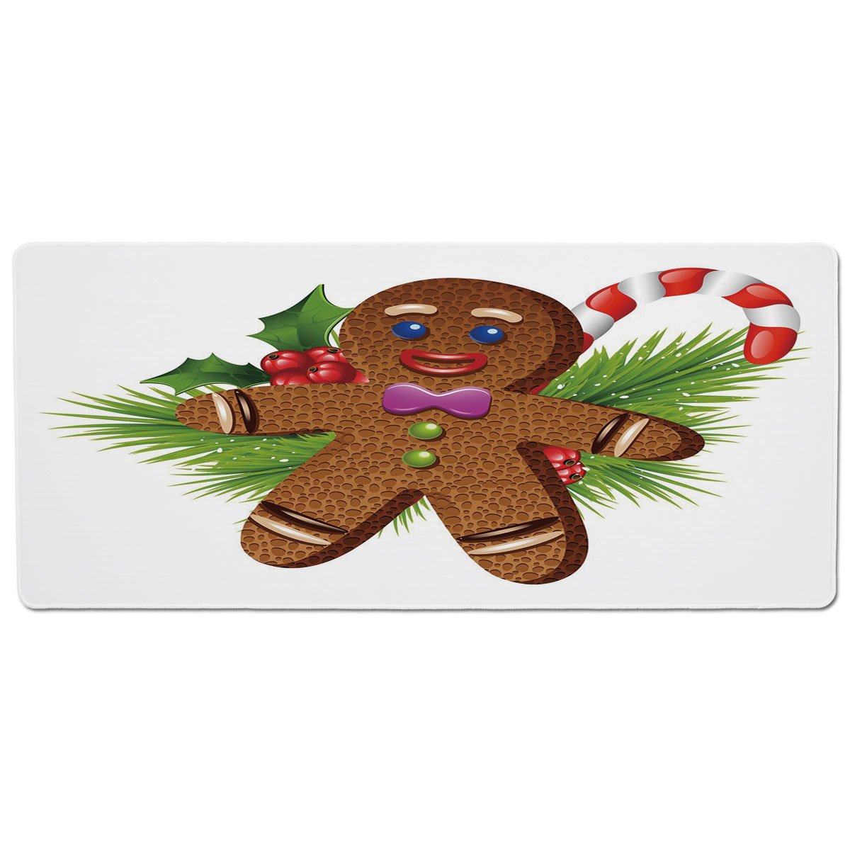 35.4\ iPrint Pet Mat for Food and Water,Gingerbread Man,Cute Tasty Pastry on Coniferous Branches Candy Cane and Holly Berry Decorative,Brown Green Red,Rectangle Non-Slip Rubber Mat for Dogs and Cats