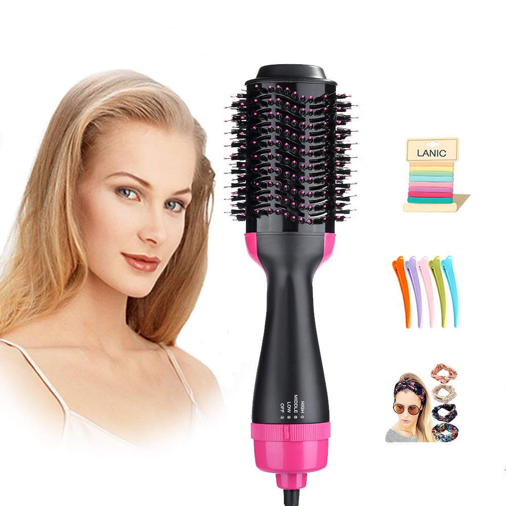 One Step Hair Dryer & Volumizer,Lanic 3 in 1 Hot Air Brush Negative Ion Generator Hair Dryer Brush for Dry, Straighten and Curling,Hair Styling Tools with Negative Ionic Technology for All types Hair by LANIC