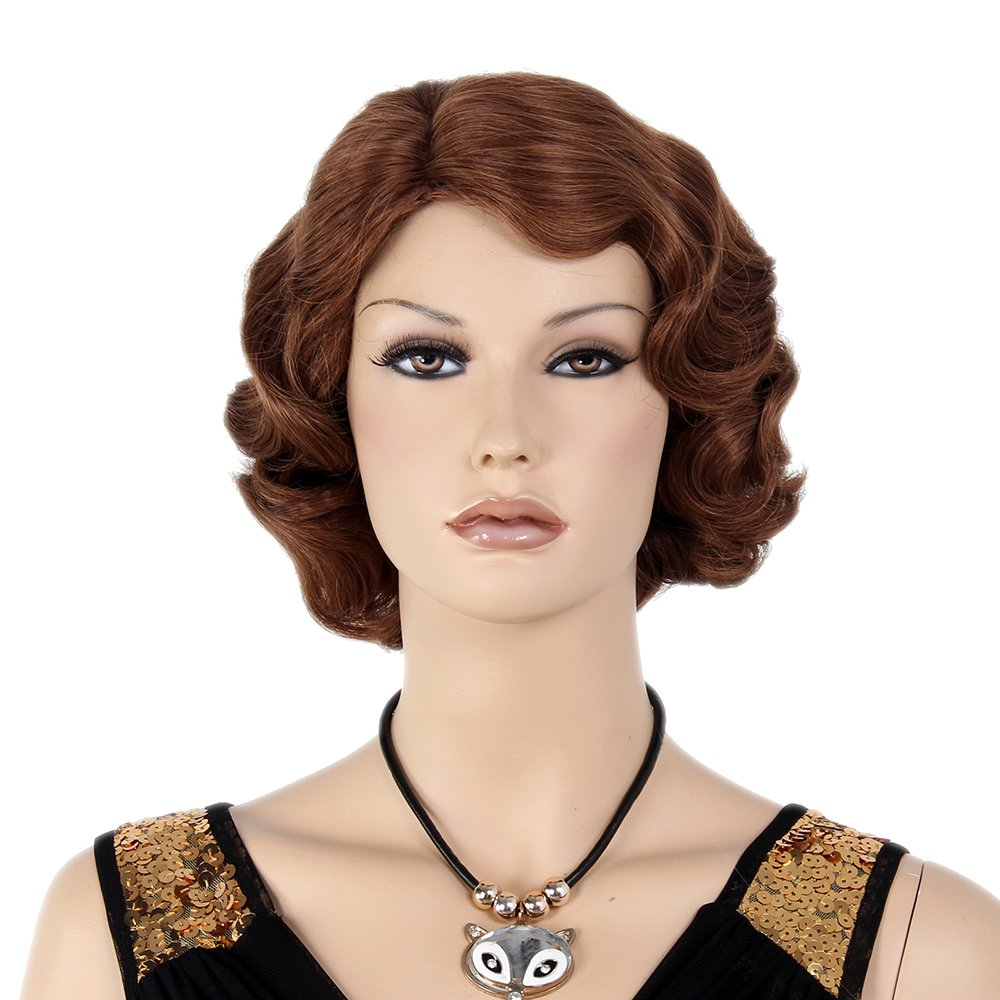 1920s Hairstyles History- Long Hair to Bobbed Hair STfantasy Finger Wave Wigs 1920s Flapper Brown Women Costume Party $25.99 AT vintagedancer.com