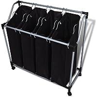 Festnight Laundry Sorter Laundry Hamper Stand Laundry Sorter Cart with 4 Bags Black Grey