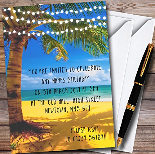 Palm Tree Beach Lights Personalized Party Invitations