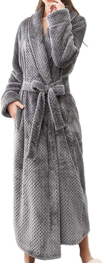 Grand Taille Polaire Robe De Chambre 100/% Coton en Satin /éPonge Peignoir De Bain pour Femme Hiver Long Chaud
