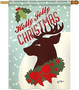 Breeze Decor H114197 Holly Jolly Christmas Decorative Vertical House Flag, 28
