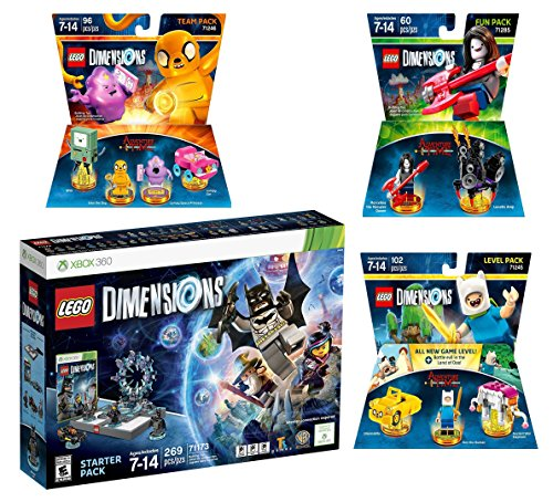 Lego Dimensions Starter Pack + Adventure Time Finn The Human Level Pack + Jake The Dog Team Pack + Marceline The Vampire Queen Fun Pack for XBox 360 Console by WB Lego