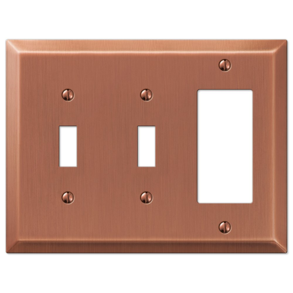 Amerelle 163TTRAC Century Antique Copper Steel 2 Toggle 1 Rocker Wallplate AmerTac