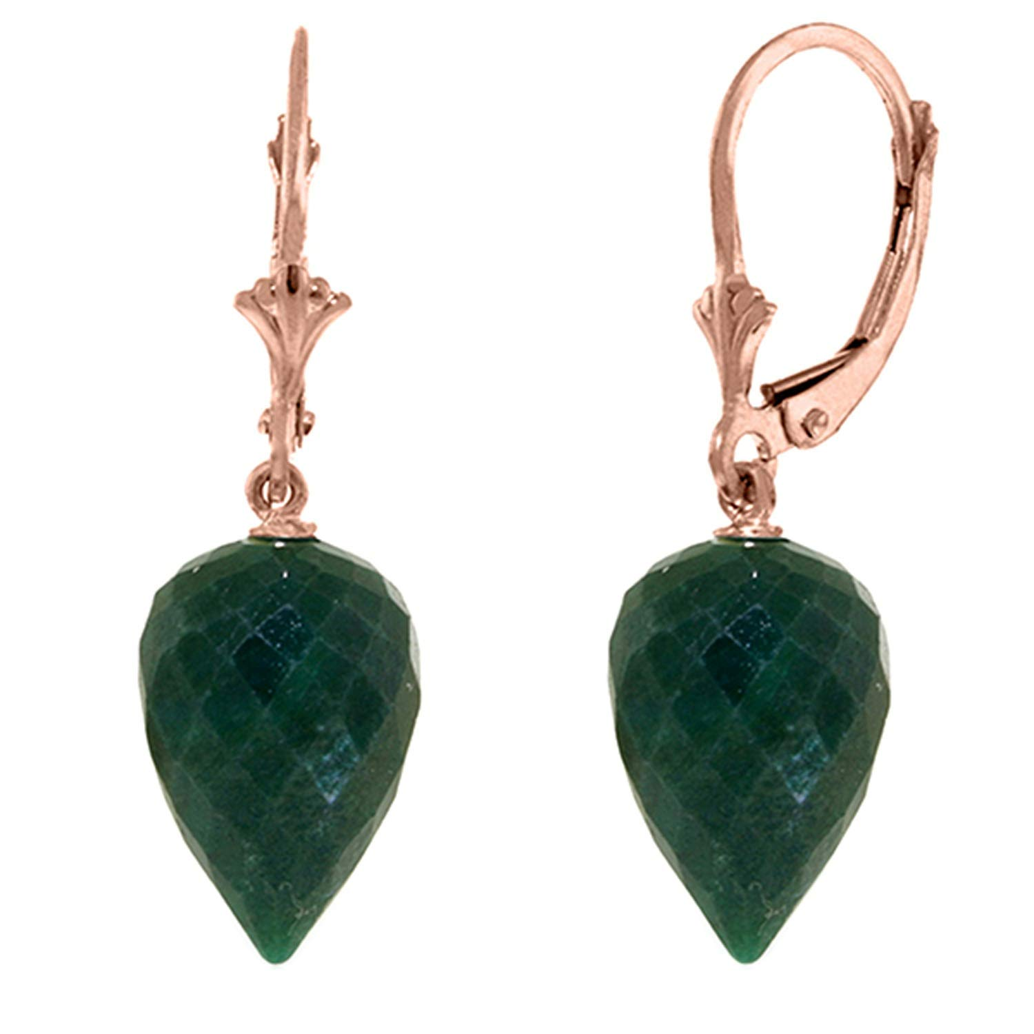 Galaxy Gold 14k Solid Rose Gold Leverback Earrings with Drop Briolette Natural Emeralds by Galaxy Gold