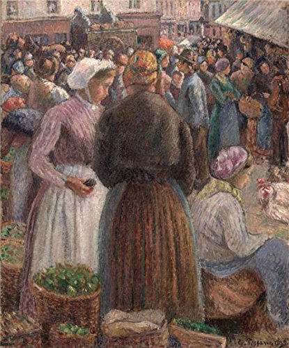 'Camille Pissarro,Market At Pontoise,1895' Oil Painting, 20x24 Inch / 51x61 Cm ,printed On High Quality Polyster Canvas ,this Reproductions Art Decorative Prints On Canvas Is Perfectly Suitalbe For Bathroom Gallery Art And Home Decor And Gifts - Pottery Barn Market Umbrella
