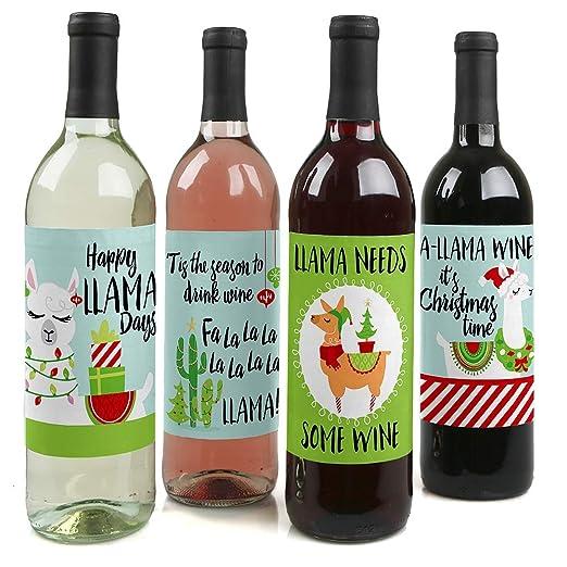 Fa La Llama - Juego de 4 pegatinas para botella de vino de Navidad ...