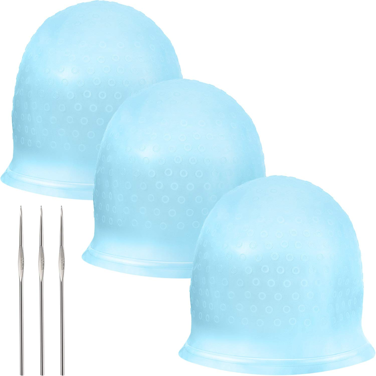 Silicone Highlight Cap Reusable Highlight Hair Cap Salon Hair Coloring Dye Cap with Hooks for Women Girls Dyeing Hair (3 Sets, Blue) by WILLBOND
