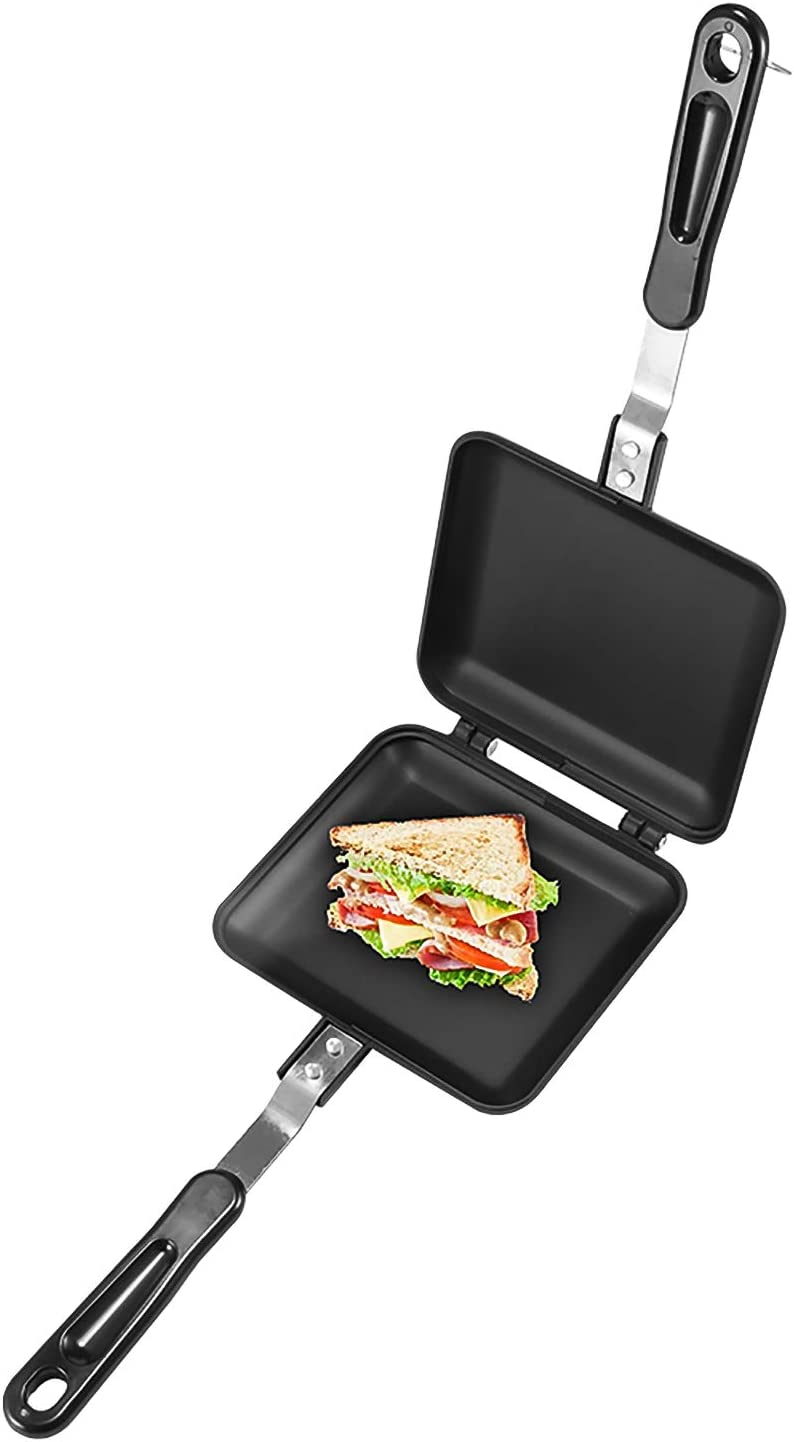 SOOTOP Double-Sided Frying Pan, Aluminum Frying Pan Outdoor Camping Sandwich Toaster Non-Stick Sandwich Maker Non-Smoke Toast Mold Double-Sided Frying Pan