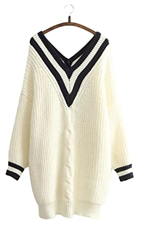 Saym Womens Cable Knit Sweater V Neck Navy Pattern Stripe Loose