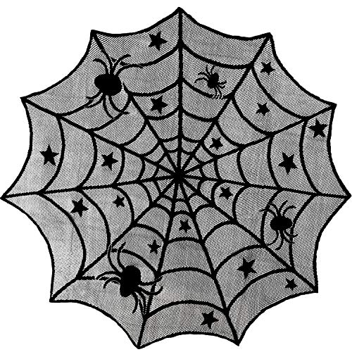 Blulu 2 Pieces Black Spider Web Tablecloth Creepy Round Lace Table Cloth for Halloween Party Decorations Supplies, 40 Inches Diameter ()