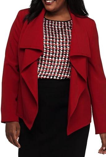 Kasper Womens Plus Stand-Collar Open-Front Jacket Reds