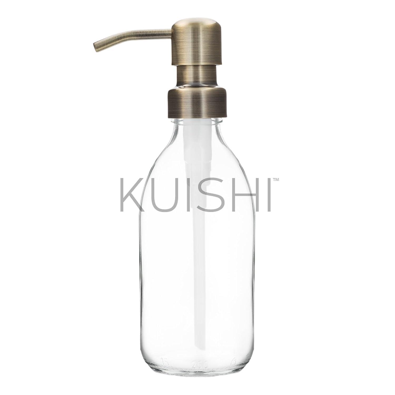 Kuishi dispenser di sapone in vetro trasparente con pompa in acciaio INOX di Acciaio inossidabile Gold 250 ML
