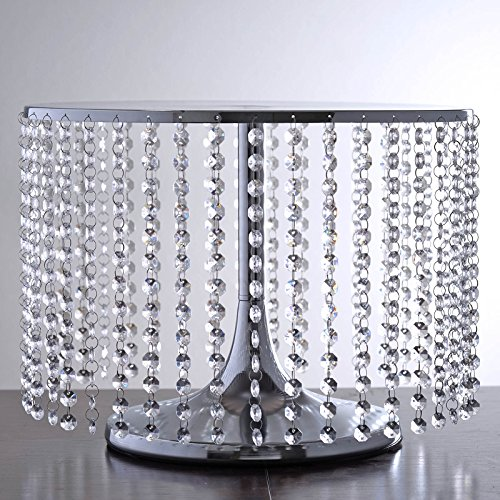 "Efavormart Silver Breathtaking Crystal Pendants Metal Chandelier Wedding Birthday Party Dessert Cake Display Stand - 12"" Tall"