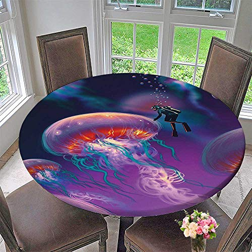 Mikihome The Round Table Cloth House Decor Diver with Giant Jellyfish Magical Underwater World Artisan Image Purple Blue for Birthday Party, Graduation Party 59