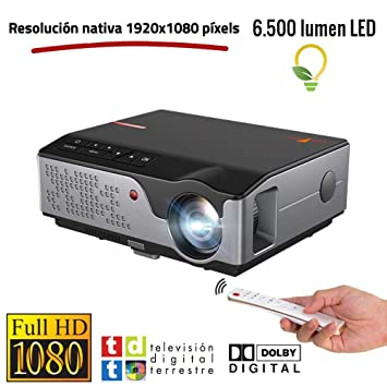 Proyector Full HD Nativo 1080P, Unicview FHD950 (1920x1080) 6.500 lúmenes LED, Proyector Maxima luminosidad Portátil LED Cine en casa AC3 HDMI USB MKV ...
