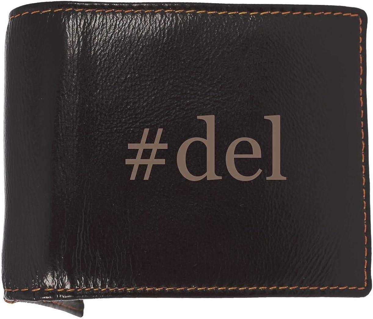 #del - Soft Hashtag Cowhide Genuine Engraved Bifold Leather Wallet 6147c2BtqmaL