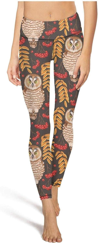 Snowy owl Bird and Rowan Attractive Women Yoga Pants with Pockets Comfy Running Leggings Girls