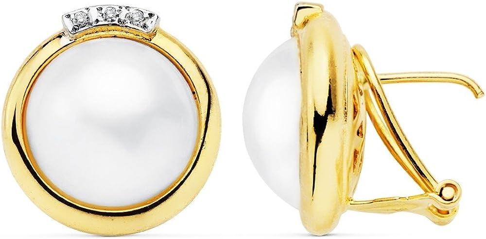 Pendientes Oro 18K Bicolor 17mm. Perla Japonesa Cultivada [Ab8951]