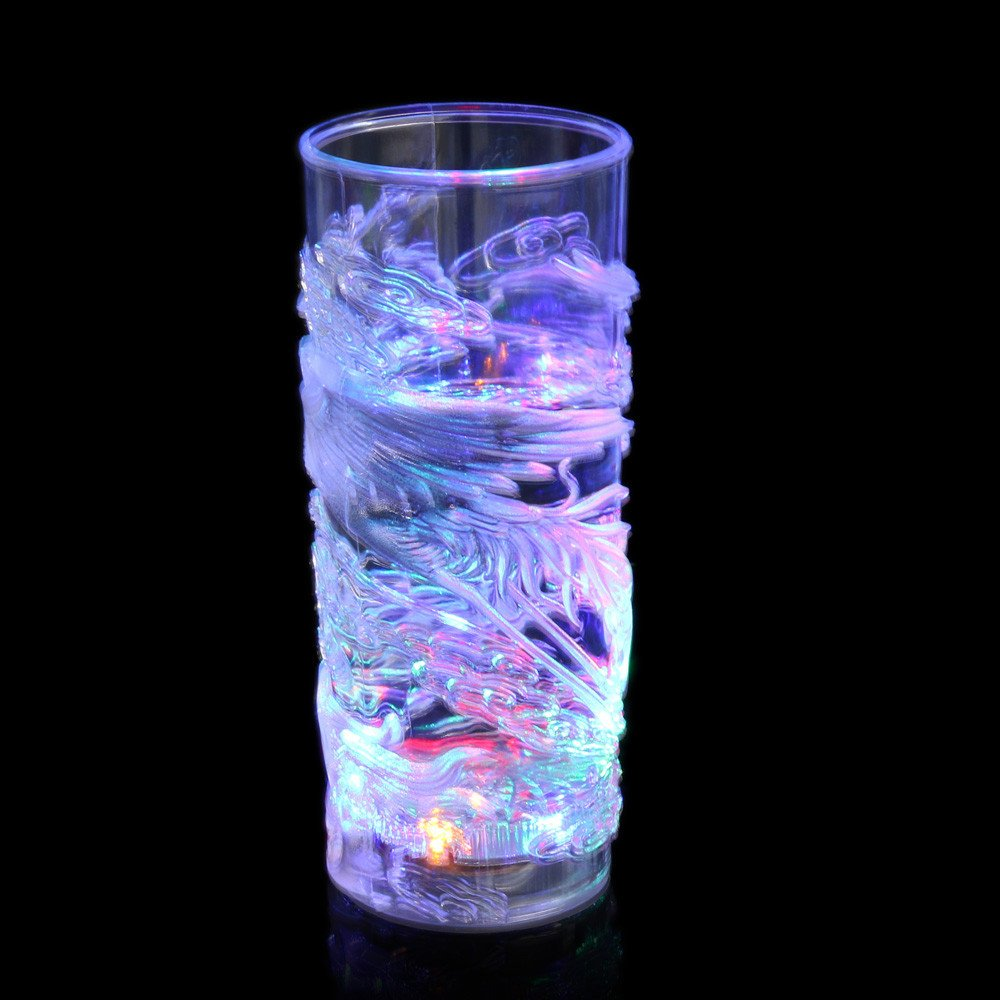 Wine Tumbler Portable Eco-friendly Transparent Wine Cup with Twinkling LED Light for Wine,Coffee,Drinks,Champagne,Cocktails (F)