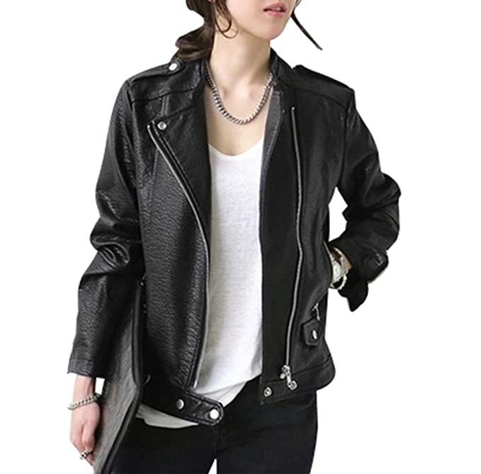 NiSeng Chaqueta de Cuero Sintético Abrigo Cazadora Biker para Mujer Elegante Chaqueta de Cuero Negro XL