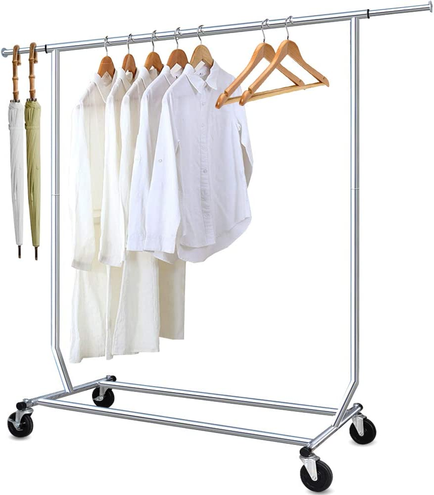 Camabel Clothing Garment Rack Heavy Duty Adjustable Rolling Moveable Commercial Grade
