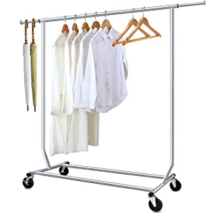 Camabel Clothing Garment Rack Heavy Duty Capacity 300 lbs Adjustable Rolling Commercial Grade Steel Extendable Hanger Drying Organizer Chrome Finish Storage Shelf With Wheels, Single Rod