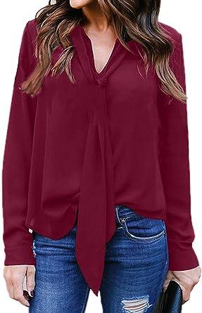 comefohome - Blusa y Blusas para Mujer, Muselina de Seda, Manga Larga fluida, Blusa de Corbata, Nudo, túnica Cuello en V Rojo M: Amazon.es: Ropa y accesorios