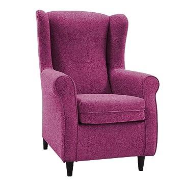 HOGAR TAPIZADO Butaca sillón orejero Nadia Tapizado en Microfibra Water Repellent Medidas:100 x 72 x 74 (Fuxia)