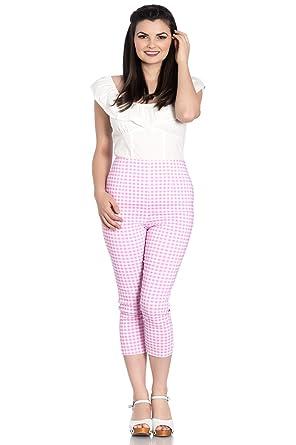 5b0f0e64c76c Hell Bunny Judy Checked 50s Vintage Capri Pants 3/4 Length Pedal Pushers -  Pink