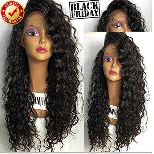 Glueless Full Lace Wig For Black Women Deep Curly 100% Real Human Brazilian Hair (18inch, Lace Front Wig) by Dream Beauty