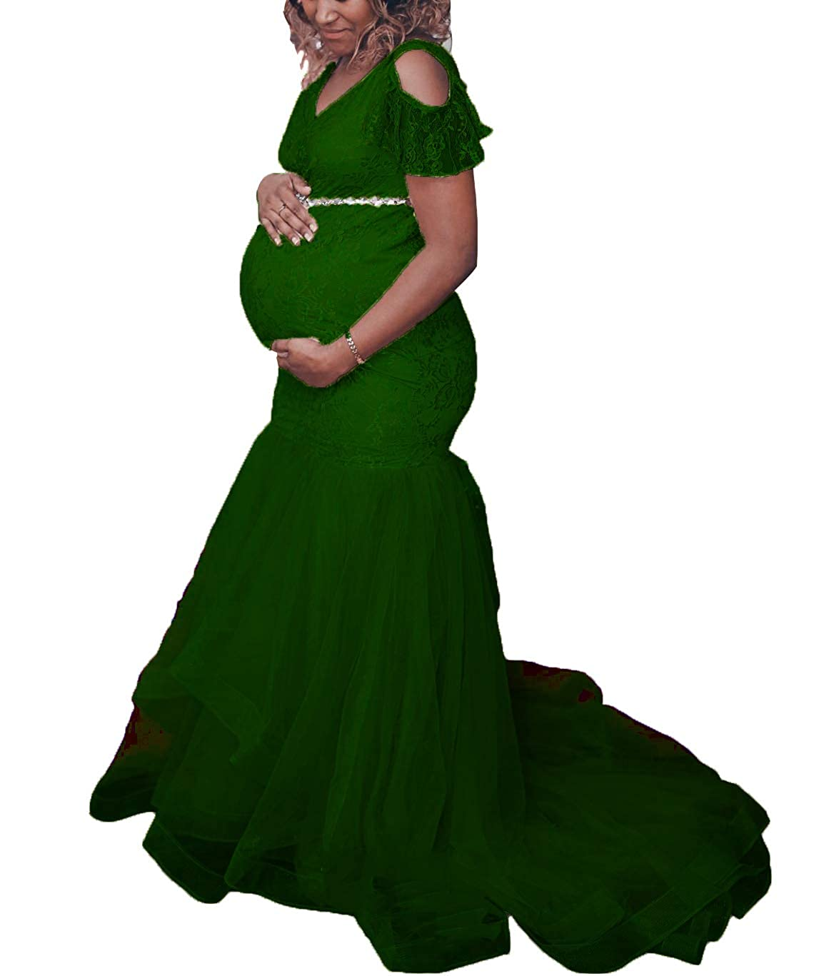 Green FTBY Mermaid Maternity Wedding Dress Lace Pregnant Evening Dresses Beaded Sash Baby Shower Gowns