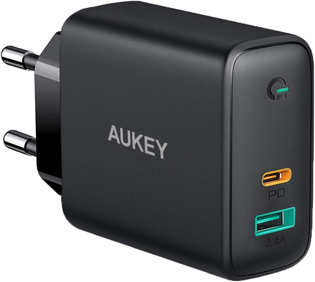 AUKEY Cargador USB C 60W, Cargador Móvil con 60W Power Delivery & GAN Tech, Compatible con iPhone XS/XS MAX/XR, iPhone 11 Pro Max SE, Macbook Pro, iPad Pro, AirPods Pro, MacBook, Nintendo Switch y