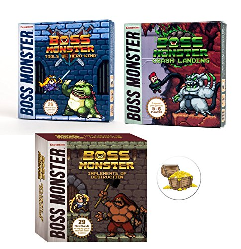 (Boss Monster Card Game Expansions Bundle with Implements of Destruction and Crash Landing and Tools of Hero Kind Plus One Treasure Chest)