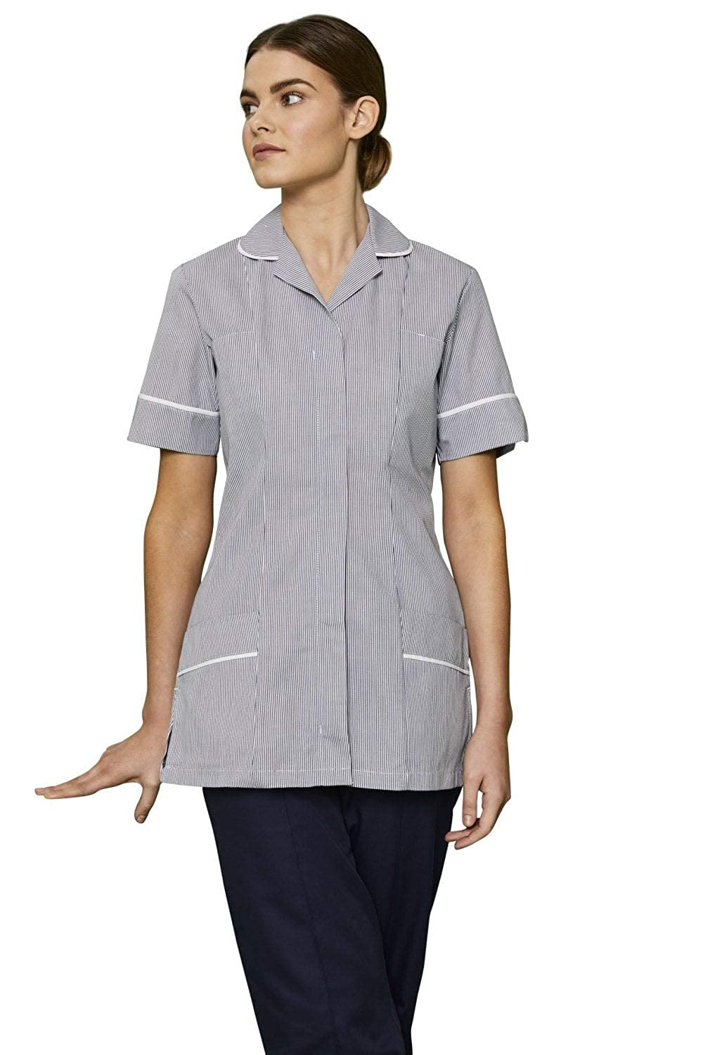Striped Simon Jersey Womens Classic Collar Healthcare Tunic with Various Trim Collars