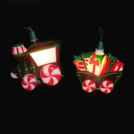 set of 10 candy train and carriage novelty christmas lights green wire
