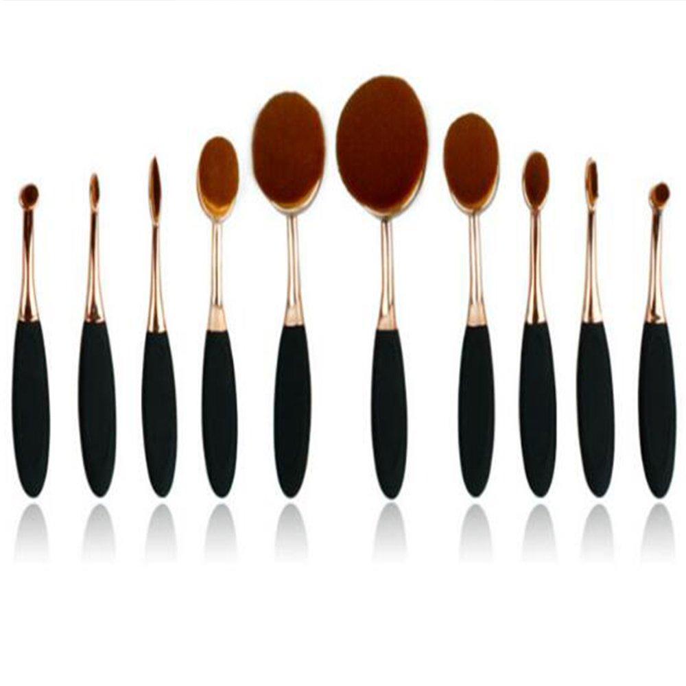 Garrelett Makeup Brushes - 10 Pcs Oval Toothbrush Foundation Contour Powder Blush Conceler Eyeliner Eye Shadow Brush Cosmetic Brushes Set