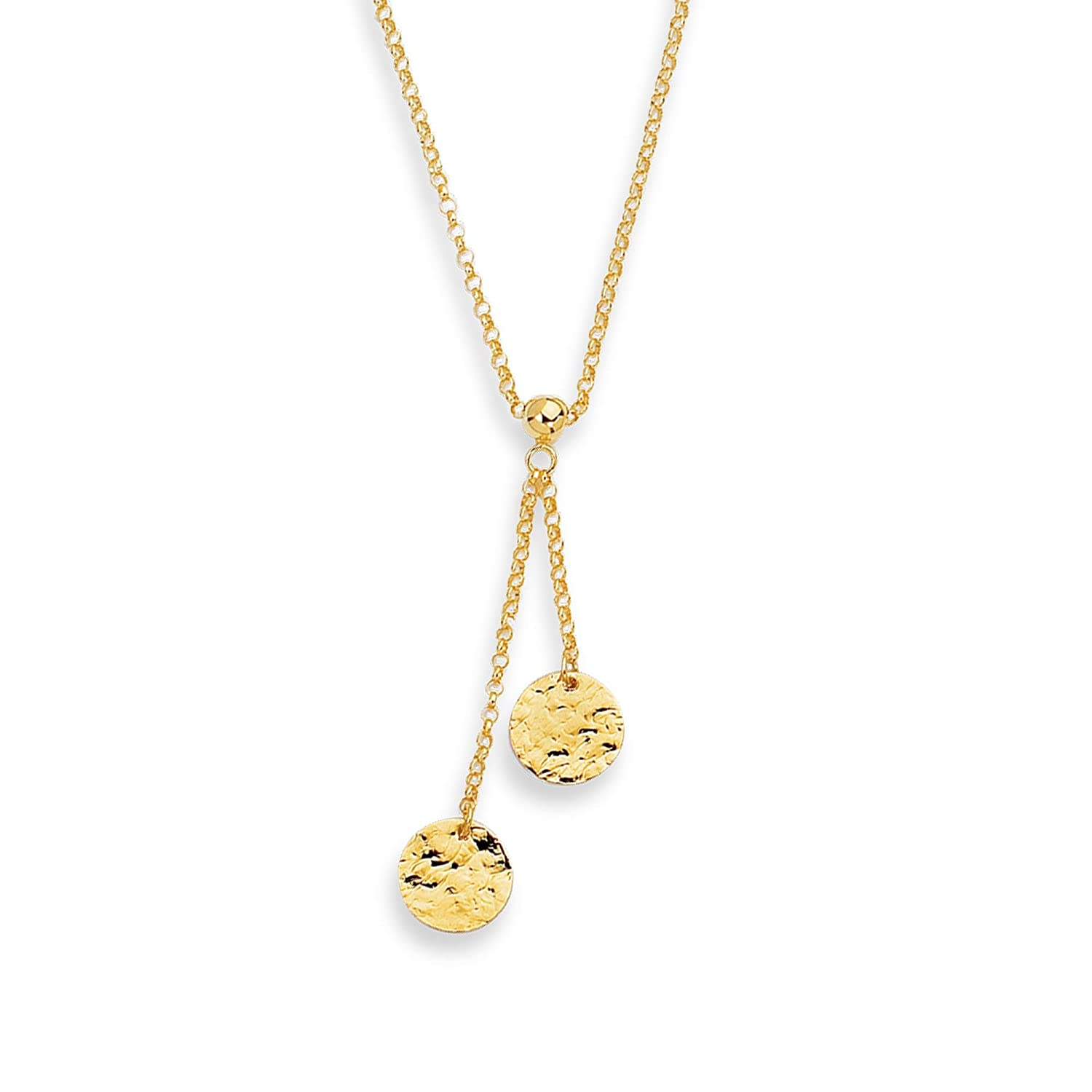 14K 17 Yellow Gold Shiny Rolo Chain 2 Round Flat Hammered Disc Lariat Neck Lace Lobster Clasp BH 5 Star Jewelry