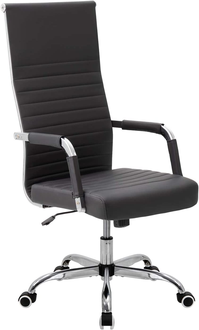 VICTONE Ribbed Office Chair High Back PU Leather Executive Conference Chair Adjustable Swivel Chair (Black)