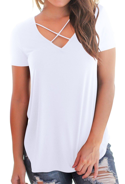 Niashot Women's Casual Short Sleeve Solid V-Neck T-Shirt Tops White L