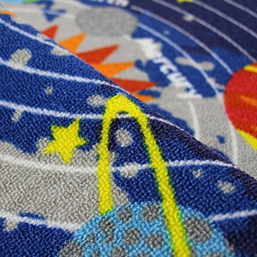 "Kids Round Rug Solar System Learning Area Rug Childrens Fun Area Rug - Non Slip Bottom (NASA Stars, 47"" Diameter Round)"