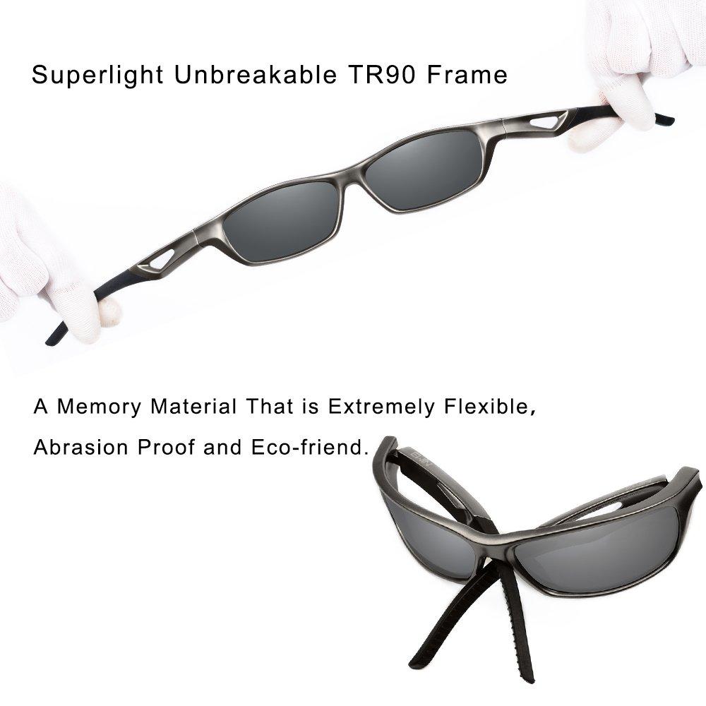 Ewin E51 Lunettes de soleil polarisées, cadre uncassable TR90, verres protecteurs UV400 pour hommes et femmes Ideal pour: Golf, cyclisme, conduite, pêche, course à pied et autres activités d'exterieur